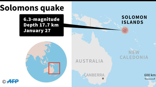 Magnitude 6.3 earthquake strikes Solomon Islands