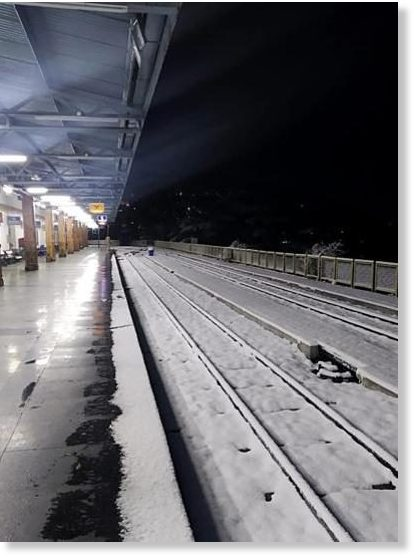The snow-covered rail tracks at Shimla railway station on Wednesday.
