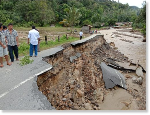 Flood damage in Central Tapanuli Regency Indonesia, January 2020.