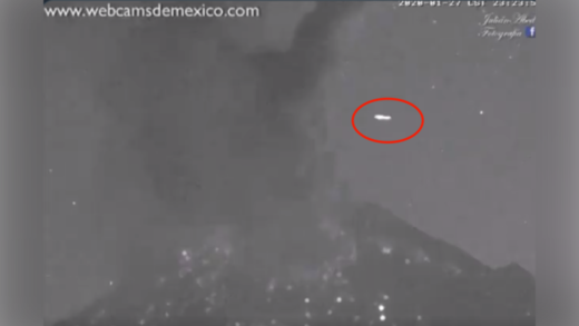 UFO filmed in skies over Mexico's Popocatepetl volcano seconds after eruption