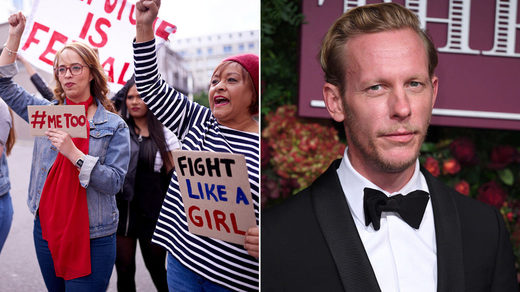 Feminist protesters and Laurence Fox
