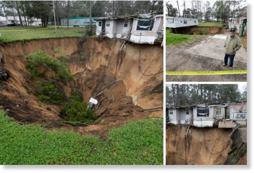 Giant sinkhole opens at Florida mobile home park