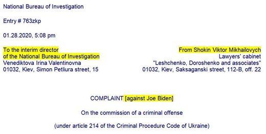 shokin sue complaint biden corruption