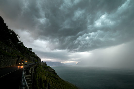 A storm sweeps over Lake Geneva
