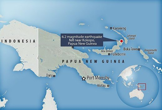 Seismologists said coastal residents near the epicentre would have felt 'quite strong ground shaking' as the tremor was close to the shore of Papua New Guinea