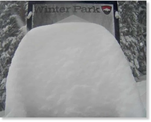 Winter Park Resort's snow stake maxed out during Friday's heavy storm.