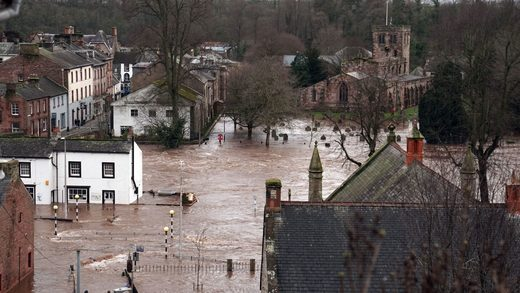 Flooded streets in Appleby-in-Westmorland, Cumbria, in the wake of Storm Ciara