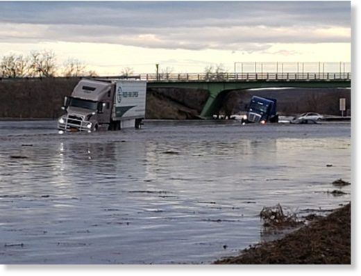 Flooding closed the Interstate 84 in Oregon. Some vehicles were left stranded.