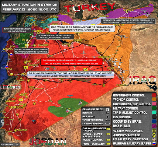 Military situation in Syria on Feb 13 2020