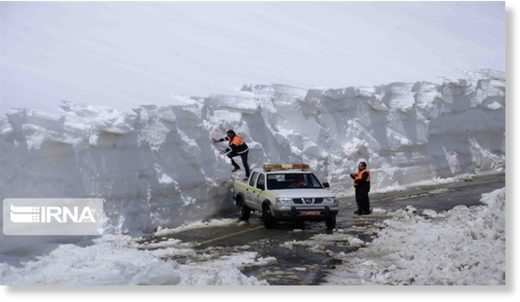 The photo shows a snow blockade on the Mahabad-Bokan road in the northwestern province of West Azarbaijan, on February 10, 2020.