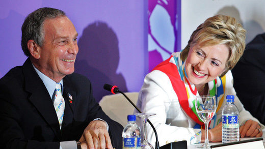 Michael Bloomberg and Hillary Clinton in Singapore, July 2005.