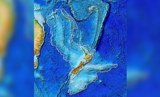 A topographic map of Zealandia, a sunken continent that includes New Zealand.