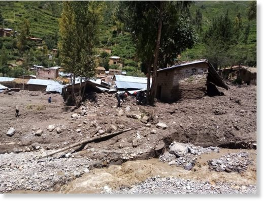 Aftermath of the mudslide and floods in Vilcanchos district, Ayacucho Region.