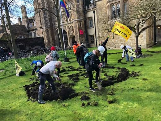 extinction rebellion digging lawn cambridge