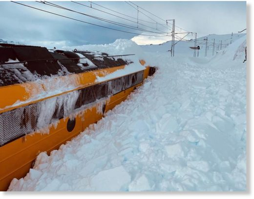 This maintenance carriage was stuck in the snow attempting to clear the Oslo to Bergen railway