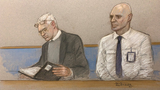 assange extradition trial court sketch