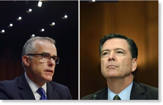 Andrew McCabe, left, and James Comey