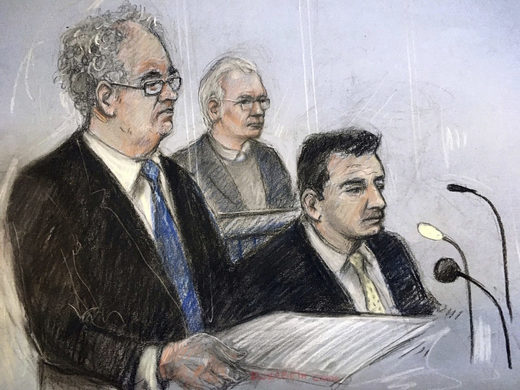 assange lawyers court sketch