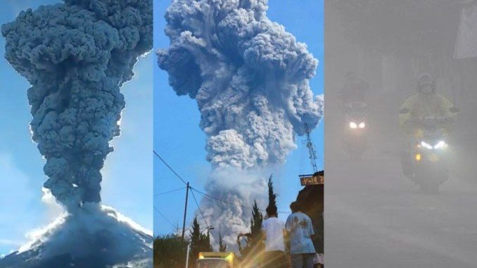 s most active volcano mt merapi spews massive ash