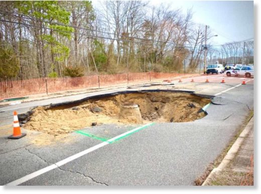 A massive sinkhole opened on Windsor Avenue in Toms River March 2