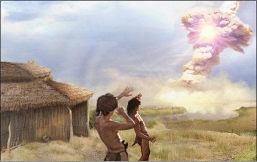ancient comet impact artist impression