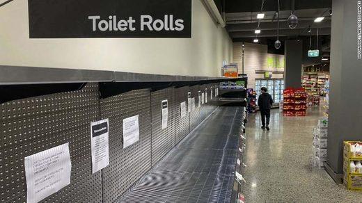 toilet paper rolls empty shelf