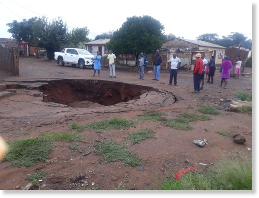 Flooding in Khutsong has exacerbated sinkholes in the area.