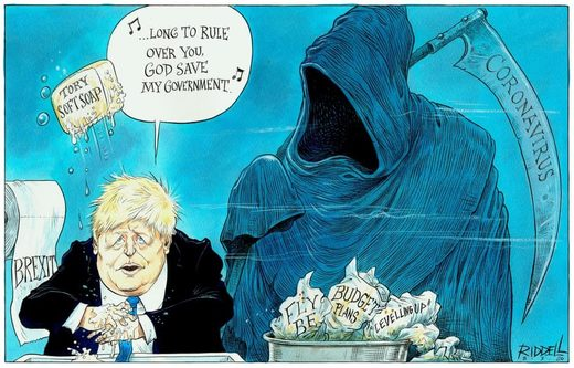 Boris Johnson and coronavirus cartoon