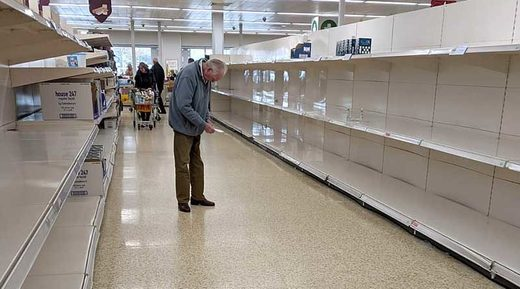 empty shelves supermarket