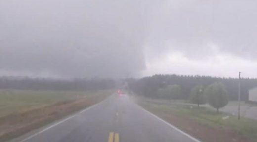 The tornado-warned thunderstorm as it hit the Tishomingo, Mississippi