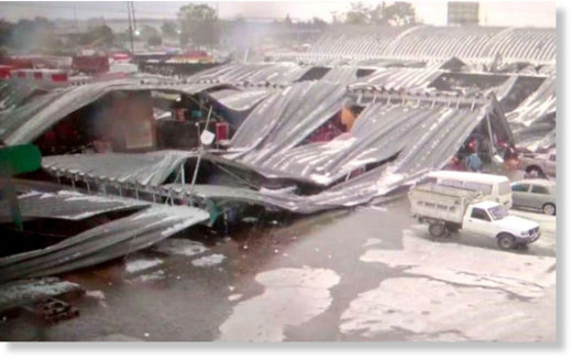 Hailstorm causes roofs to collapse at Mexico City's main food market