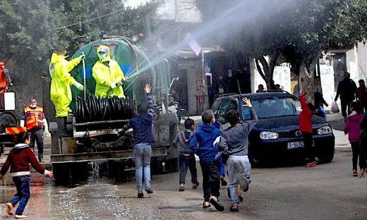 Spraying street