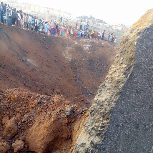 The crater left by the blast in Akure believed to be a meteorite
