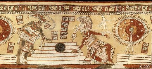 aztec mayn ball game wall painting