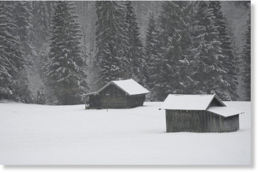 Heavy snowfall in Garmisch-Partenkirchen, Bavaria.
