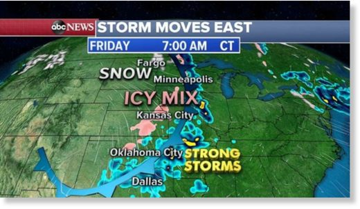 Seven states from Minnesota to Kansas are under ice and snow alerts Friday morning.