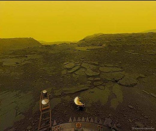 Picture of Venus thick atmosphere and scortched surface taken by Russian probe Venera