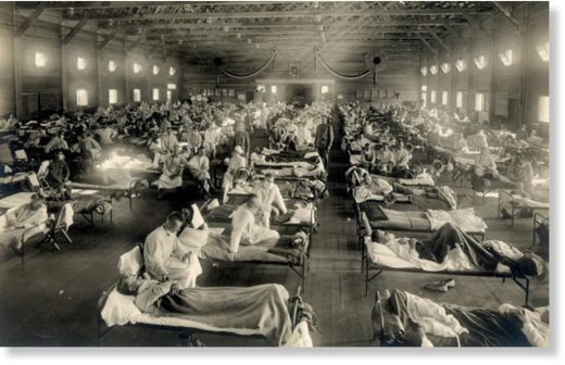 An emergency hospital at Camp Funston, Kansas, 1918.