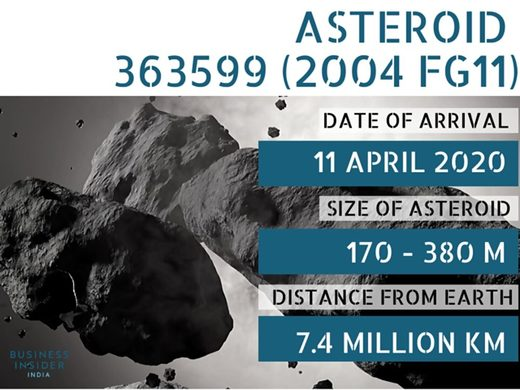 asteroid 2004 FG11 close pass april 2020