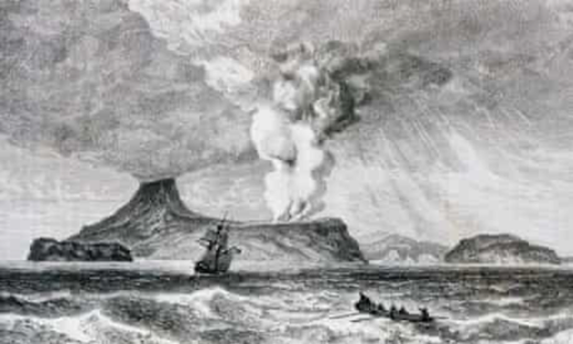 Eruption of Perbuatan volcano on Krakatoa Island, 26 August 1883.
