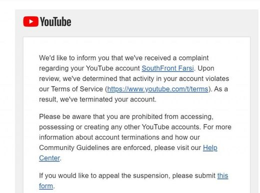 Youtube SouthFront removal