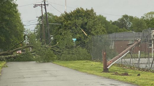A powerful line of thunderstorms snapped trees and brought down power lines across Middle Tennessee