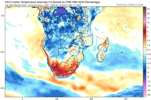 southern africa temps