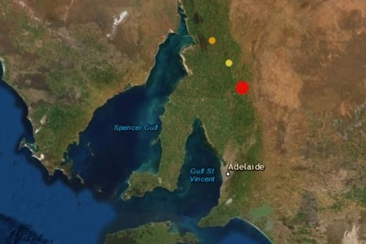 The earthquake struck at Burra, north of Adelaide