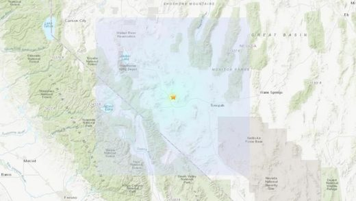 Screenshot of earthquake near Toponah, Nevada.
