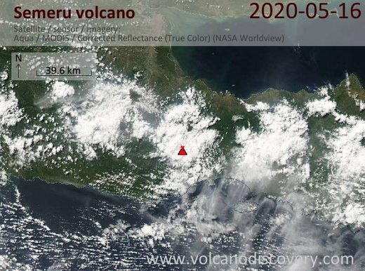 Satellite image of Semeru volcano on 16 May 2020