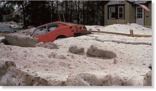 Hail can accumulate to remarkable depths when a storm becomes stationary over one place for a period of time.