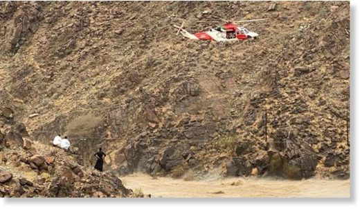 Flood search and rescue in Wadi Al Helo, Sharjah, UAE, May 2020.