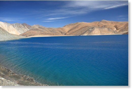 Pangong Lake, on the border between India and China