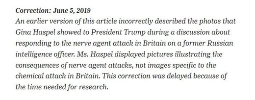 New York Times correction Haspel photos